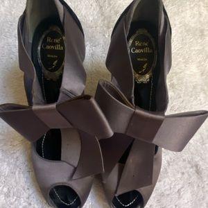 Rene Caovilla Grey Satin with Black Velvet Heel